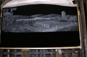 Laser Etching – Field and Barn Scene